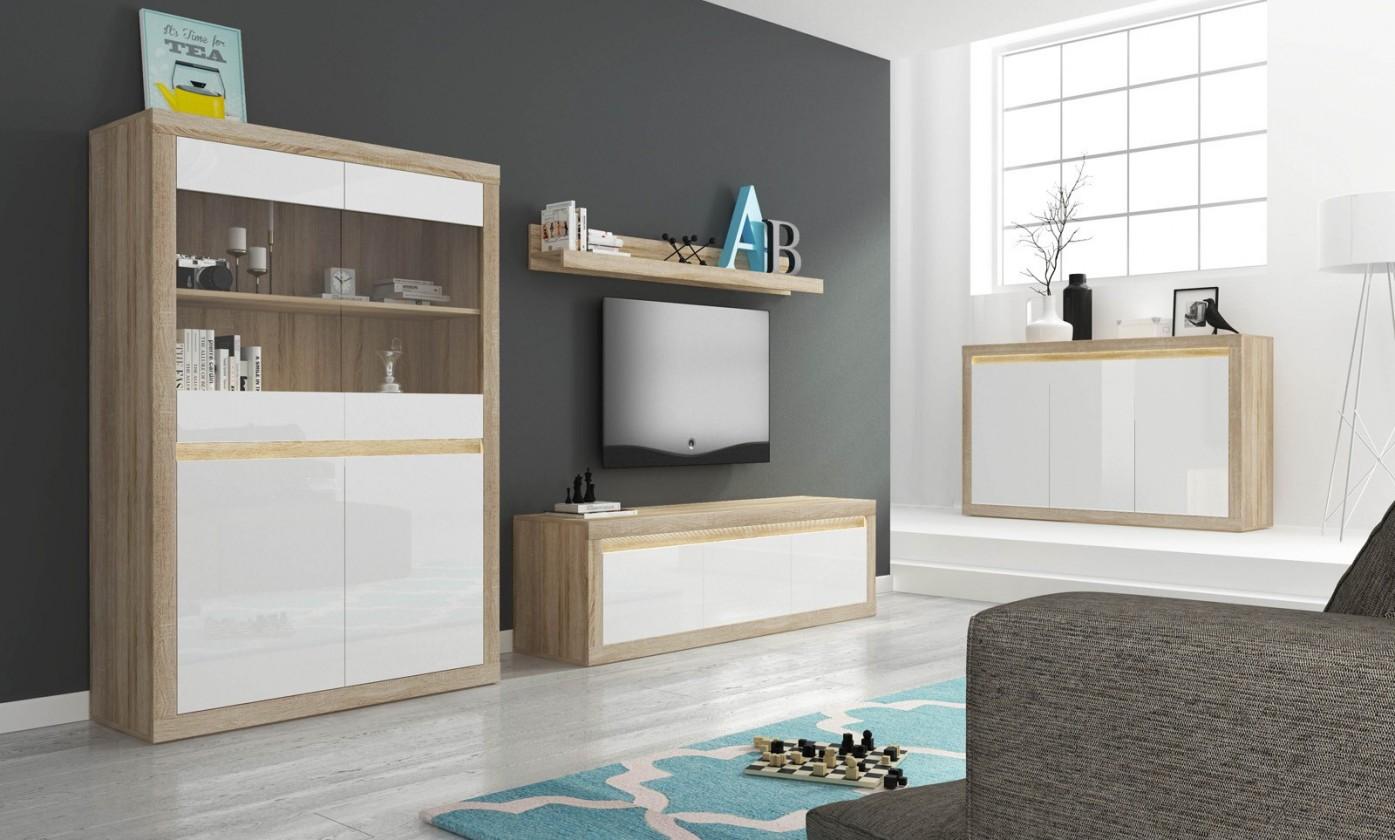 Obývací stěna Lino II - Police, 2x komoda, vitrína, LED (sonoma/bílá lesk)
