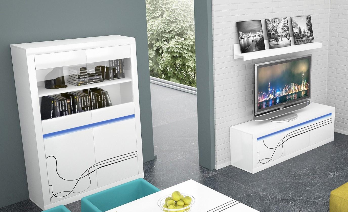 Obývací stěna Lino Obývací sestava, police, komoda, vitrína, osvětlení (bílá)