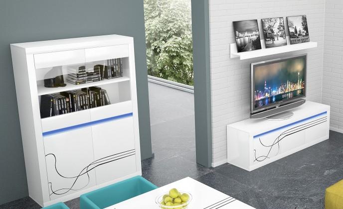 Obývací stěna Lino - Obývací sestava, police, nízká komoda, vitrína (bílá)