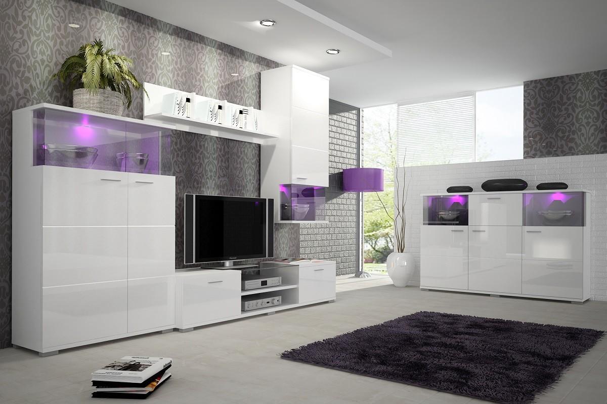 Obývací stěna Luis - Obývací stěna, police, RTV komoda, komoda, světlo (bílá)