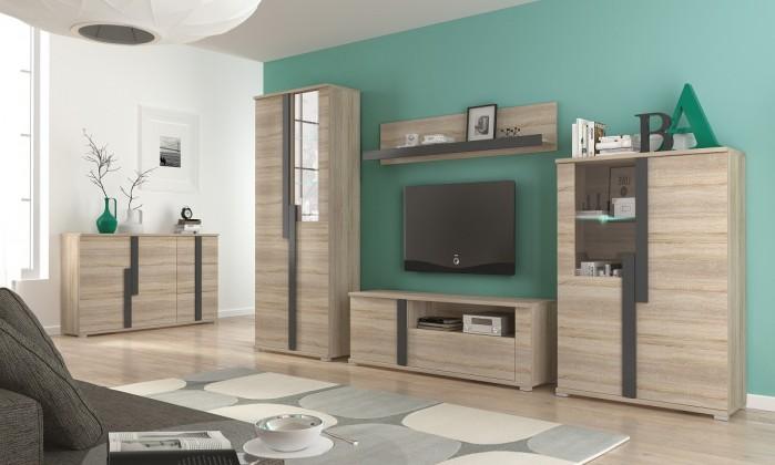 Obývací stěna Markus - Obývací stěna, 2x vitrína, komoda, LED (dub sonoma)