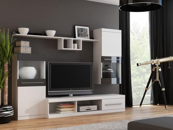 Obývací stěna Nick - Obývací stěna (bílá/bílá,černá lesk)