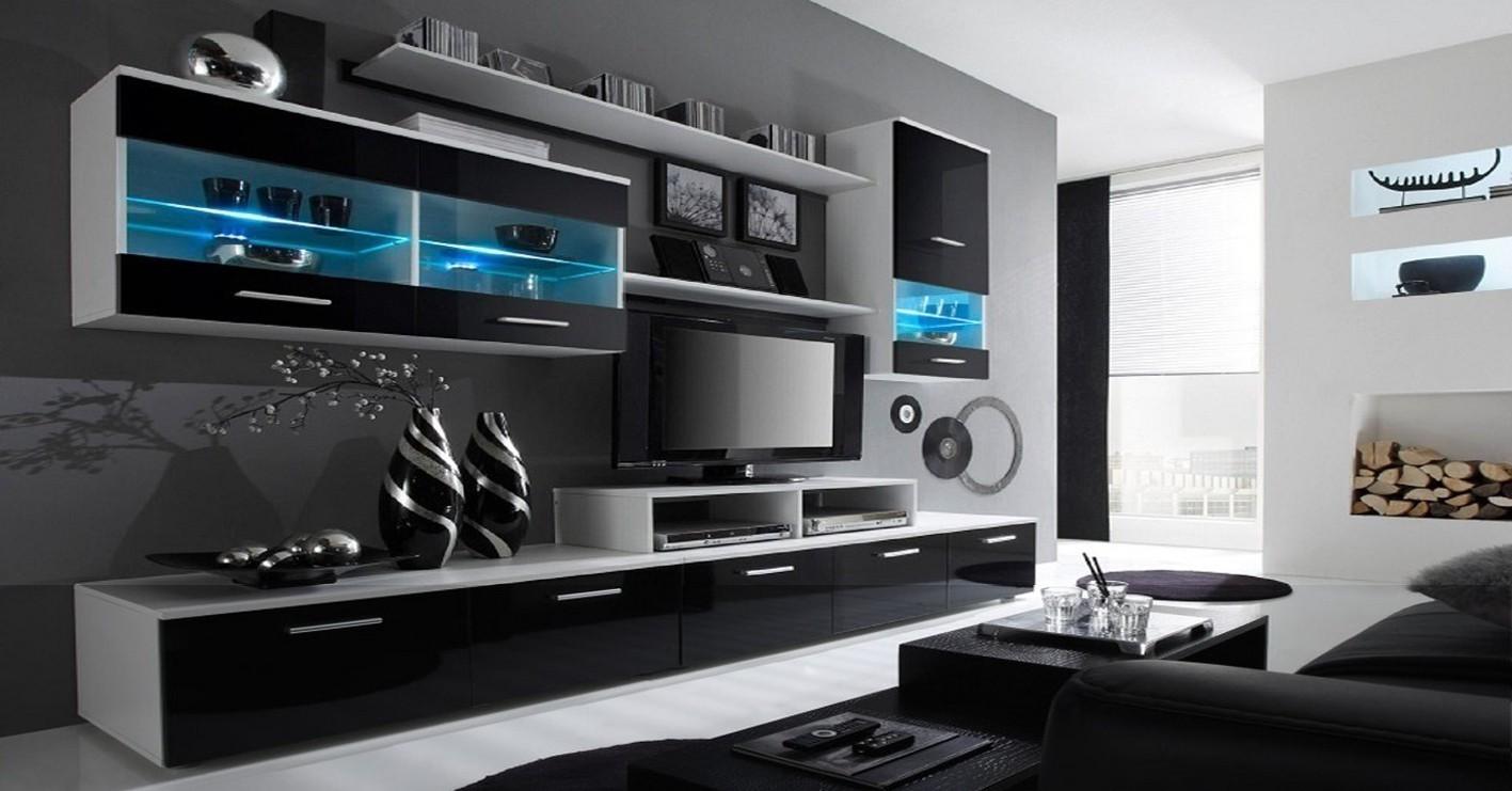 Obývací stěna Obývací stěna Alfa (bílá/černá)