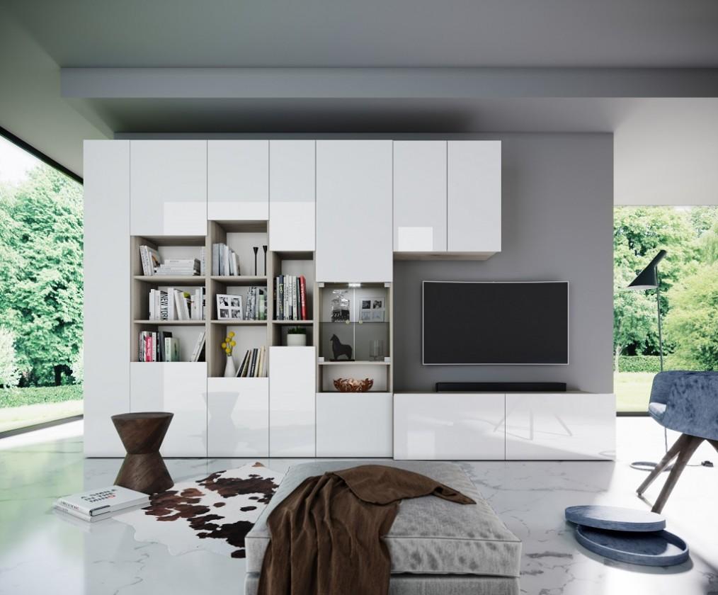 Obývací stěna Obývací stěna Arnave (sonoma arwen/bílý lesk)