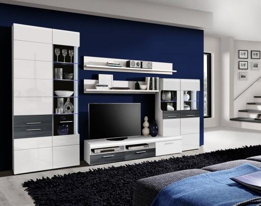 Obývací stěna Obývací stěna Cortino (bílá/bílá lesk, dub černý)