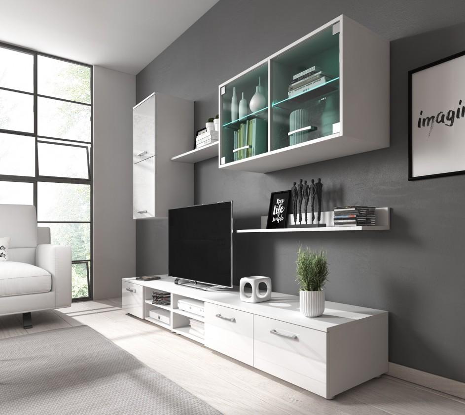Obývací stěna Obývací stěna Klara (bílý mat/lesk)