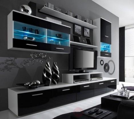 Obývací stěna obývací stěna logo ii (bílá/černá lesk)
