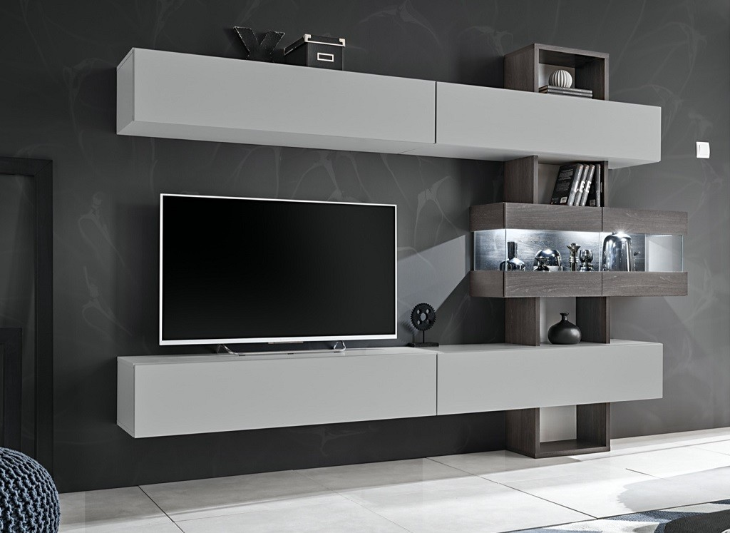 Obývací stěna Obývací stěna Naduk (dub grafit, perla gray)