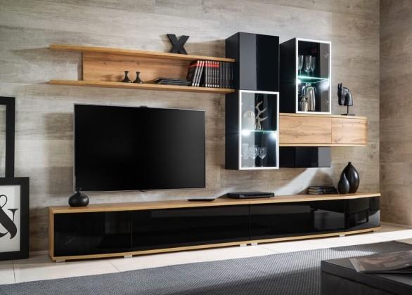 Obývací stěna Obývací stěna Samaris (dub wotan, černá)