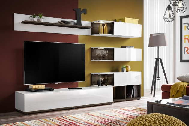 Obývací stěna Obývací stěna Silk (bílá, perla elm)