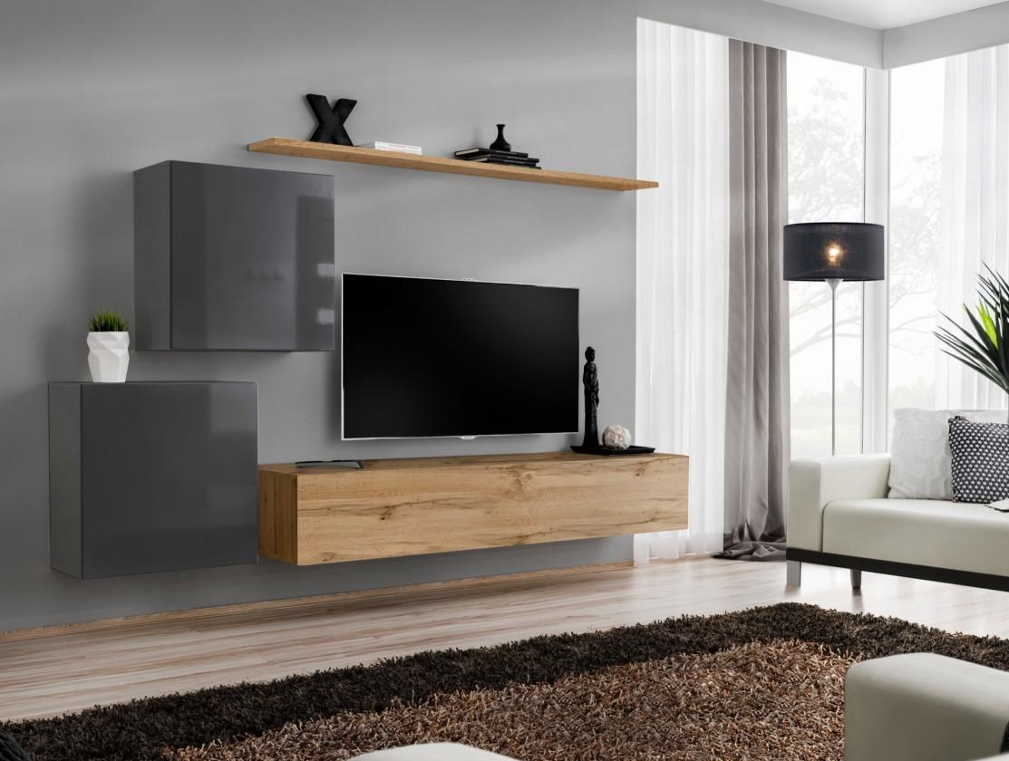 Obývací stěna Obývací stěna Switch (dub wotan/šedá)