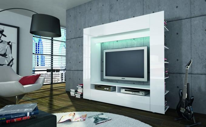 Obývací stěna Olli (bílá/bílá vysoký lesk)