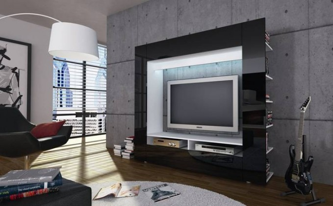 Obývací stěna Olli (bílá/černá vysoký lesk)