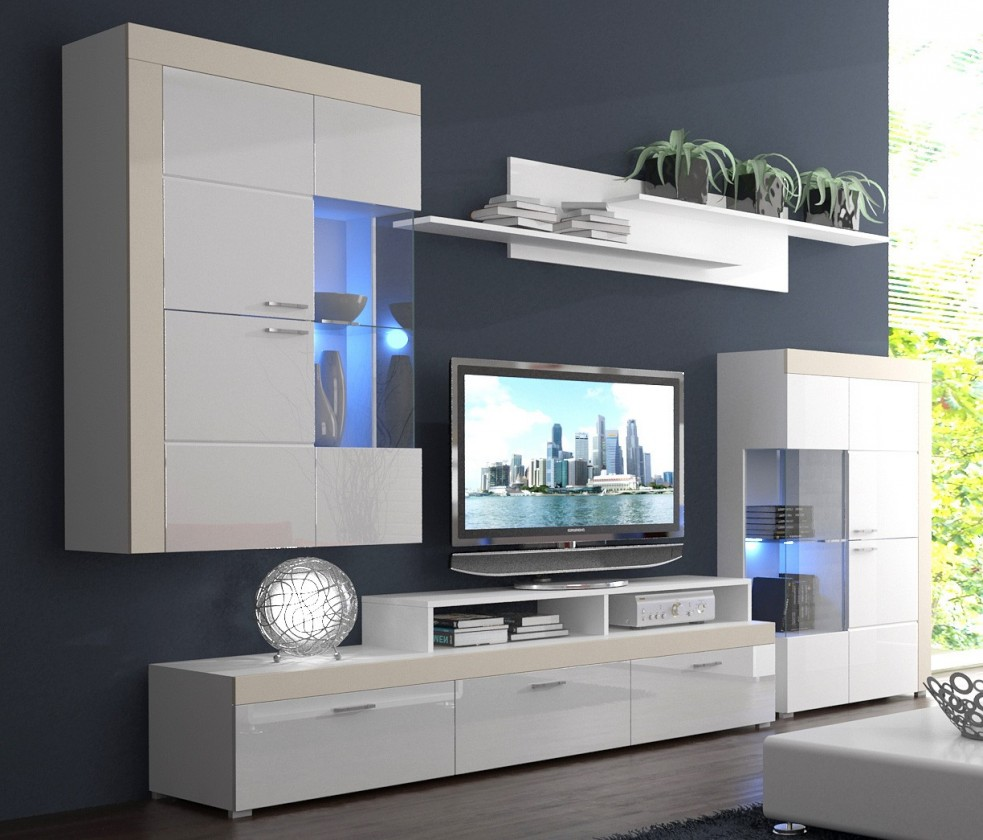 Obývací stěna Pablos - Obývací stěna (bílá, korpus/bílá lesk/béžové detaily)