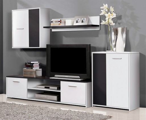 Obývací stěna Paco PCOM02-V05(bílá/černá)