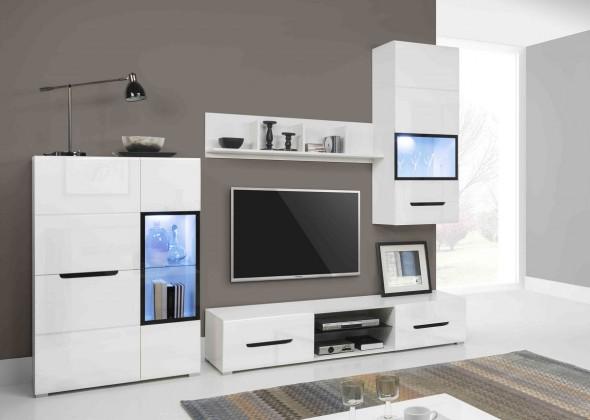 Obývací stěna Pedro - Obývací stěna, 2x vitrína, police, komoda, světlo (bílá)
