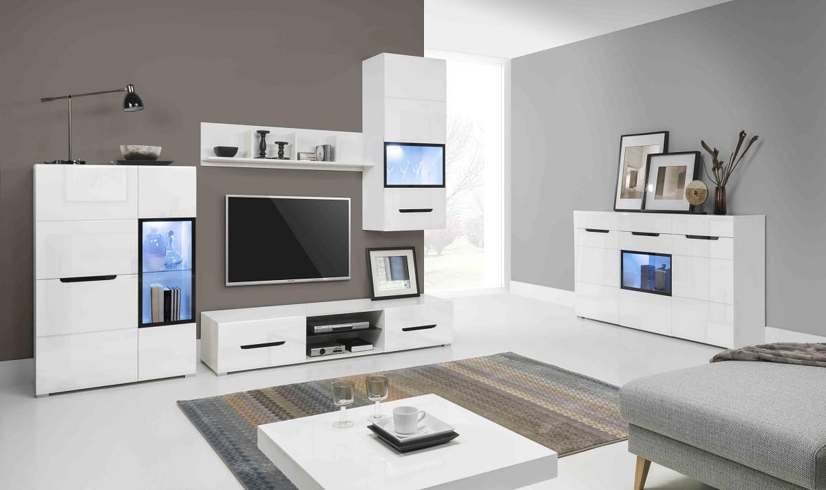 Obývací stěna Pedro - Obývací stěna, 2x vitrína, police, komody, světlo (bílá)