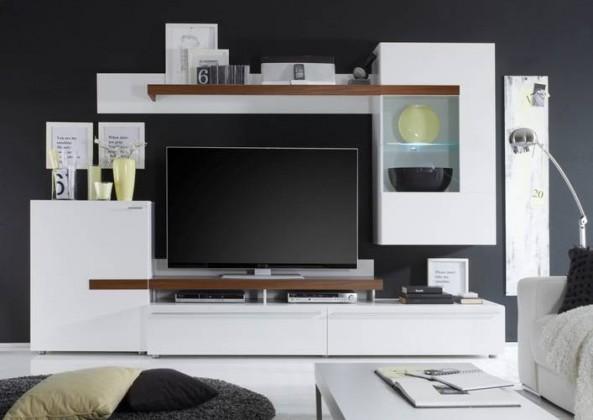 Obývací stěna Piano (Bílá/ořech virginia)