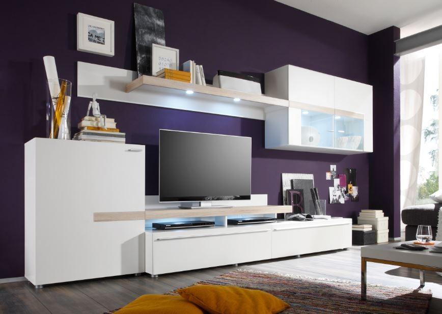 Obývací stěna Piano - Obývací stěna (bílá / dub sonoma / sklo)