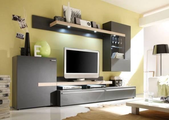 Obývací stěna Piano - Obývací stěna (černohnědá / dub sonoma / sklo)