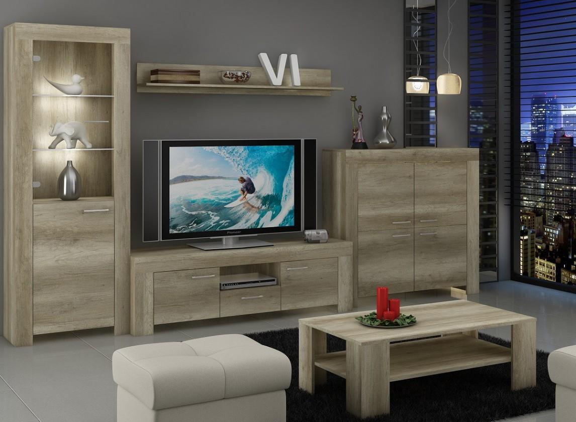 Obývací stěna Sky - Obývací stěna, komoda, RTV stolek, stolek (country šedá)