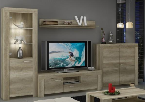 Obývací stěna Sky - Obývací stěna, komoda, RTV stolek, světlo (country šedá)