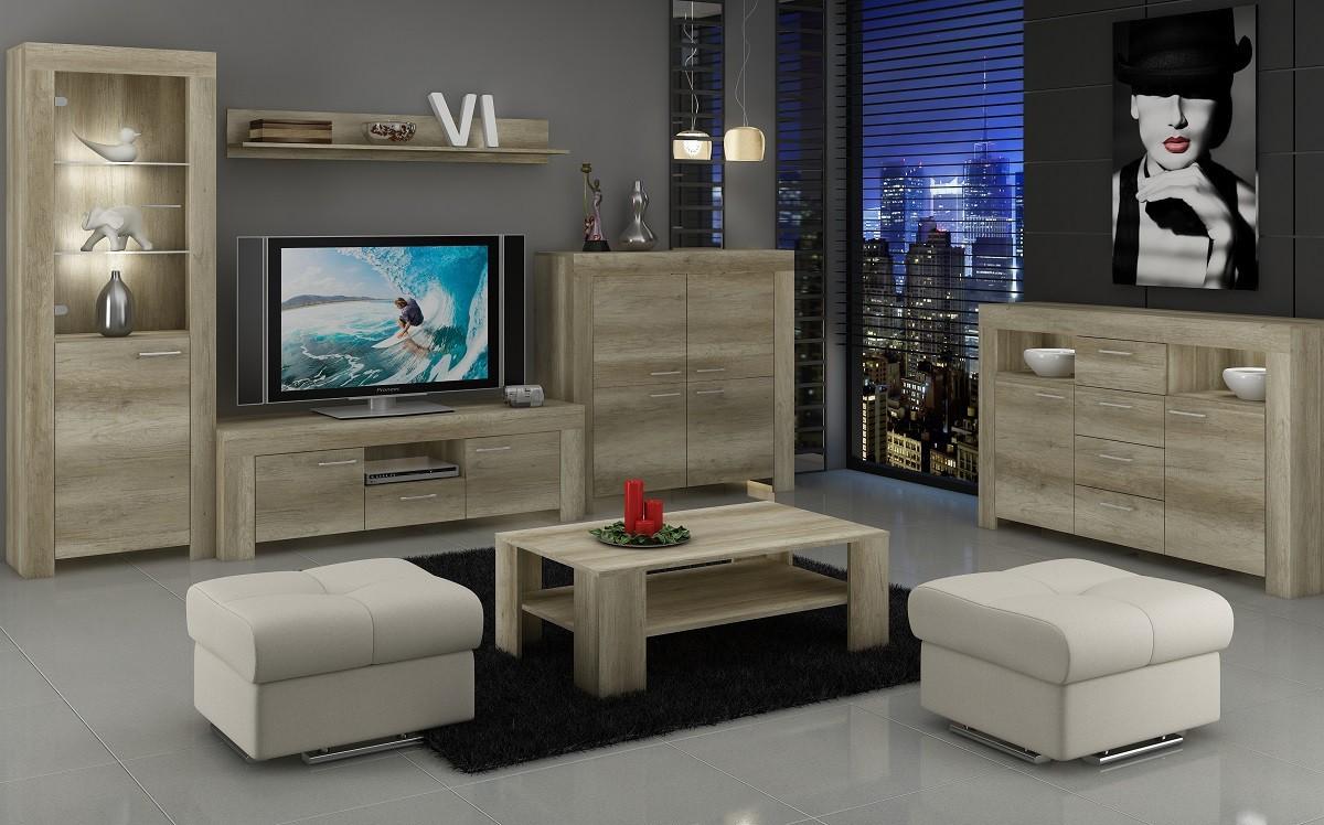Obývací stěna Sky - Obývací stěna, police, 2x komoda, RTV stolek (country šedá)