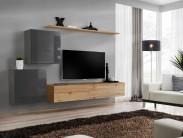 Obývací stěna Switch (dub wotan/šedá)