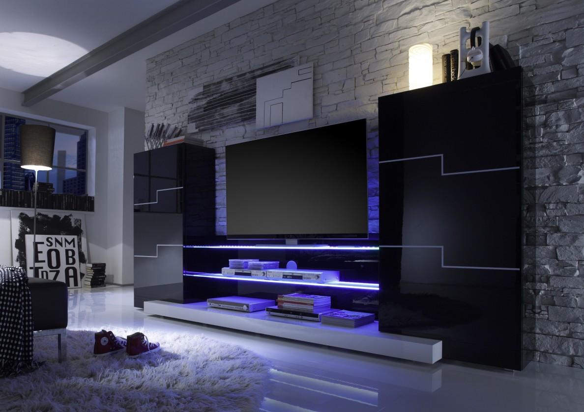 Obývací stěna Twin (Černá/bílá)
