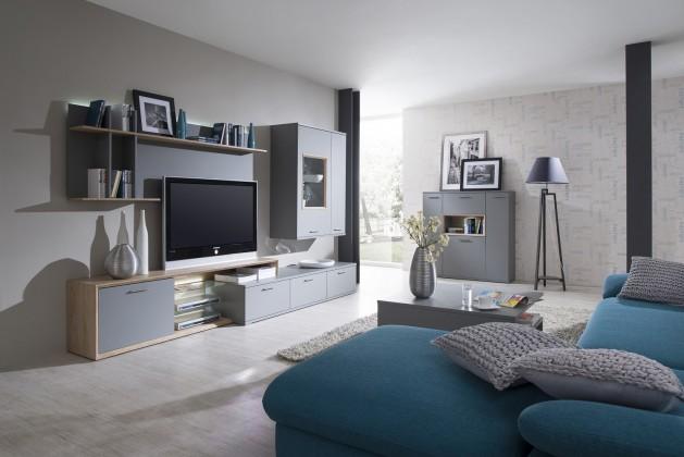 Obývací stěna Veto - Kombi 55 (šedá/šedá supermat/dub sand remo sand)