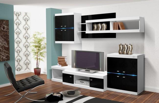 Obývací stěna Viktor 1 - Obývací stěna (bílá / černá lesk)