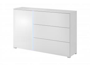 Obýváková komoda Simple (bílá, bílá lesk)