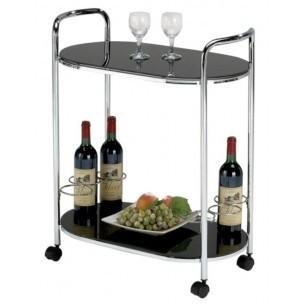 Odkládací stolek Bar 3 (Sklo černé/Nohy chrom)
