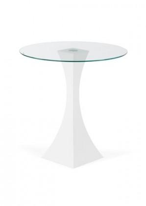 Odkládací stolek IOWA WT (Čiré sklo/Bílá)