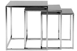 Odkládací stolek Konferenční stolek Cross - set 3 kusů (černé sklo/kov)