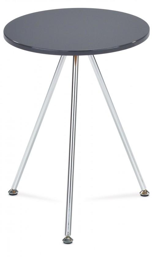Odkládací stolek Přístavný stolek Toma - kulatý (vysoký lesk šedá, chrom)