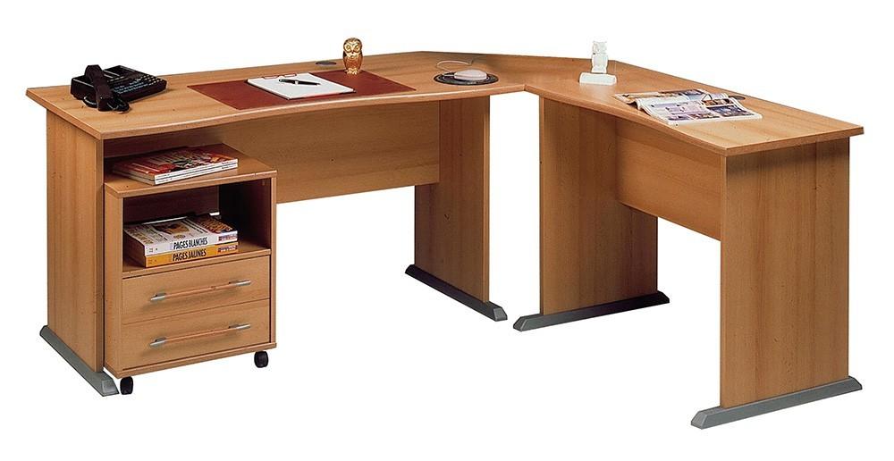 Office - stůl do L, kontejner (buk )