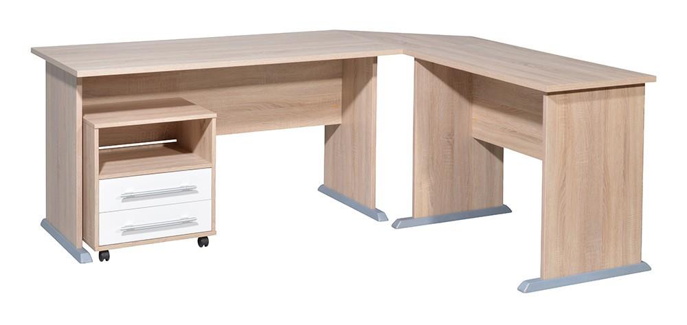 Office - stůl do L, kontejner (dub sonoma / bílá)