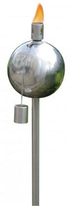 Olejová zahradní pochodeň, koule (stříbrná)