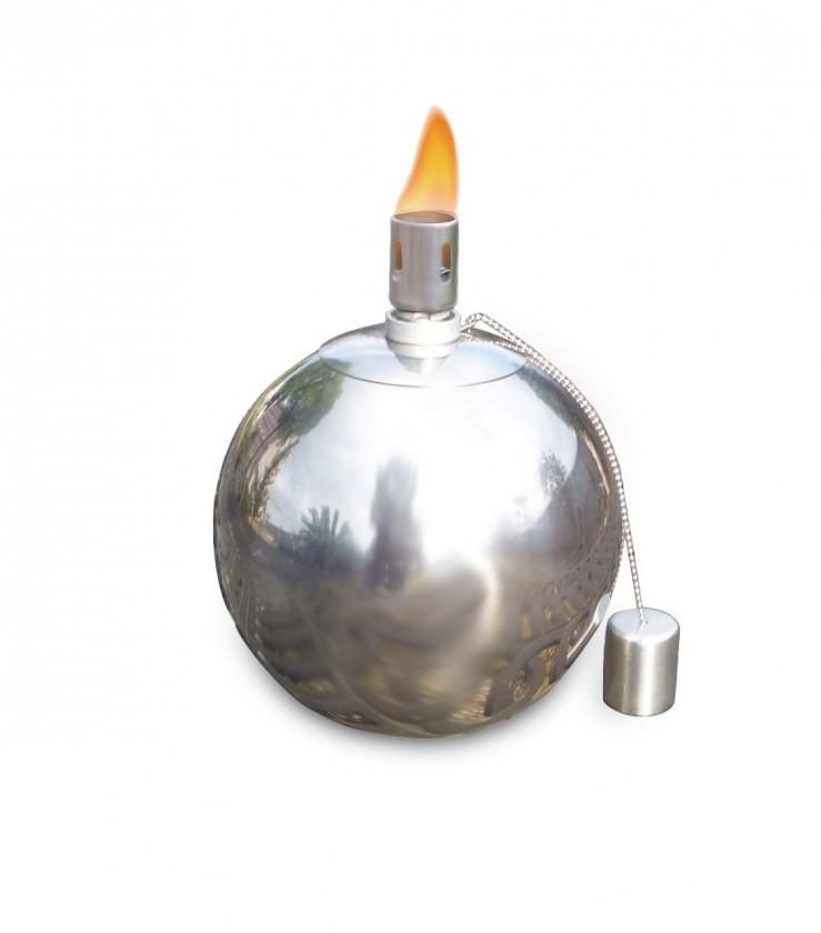 Olejový zahradní svícen, malý (stříbrná)