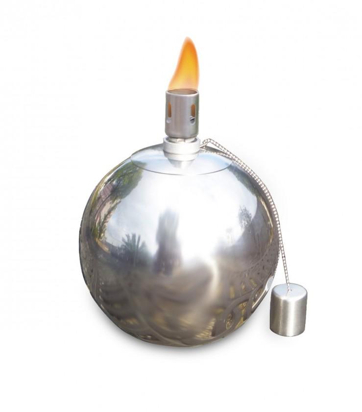 Olejový zahradní svícen, střední (stříbrná)