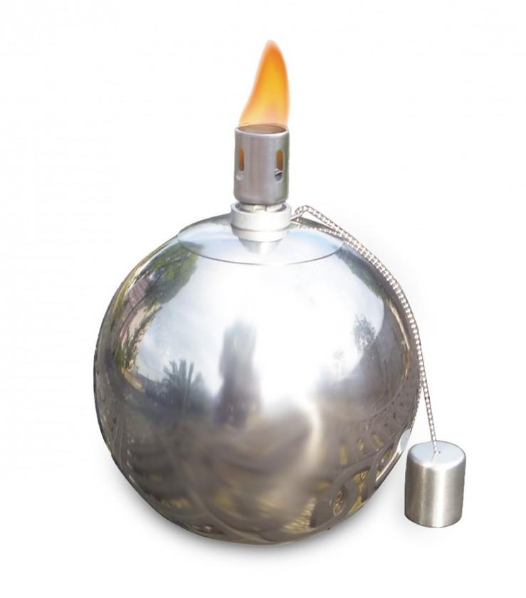 Olejový zahradní svícen, velký (stříbrná)