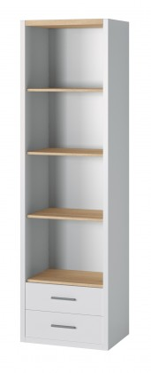 Oslo - Knihovna, 2x zásuvka ,4x police (dub sonoma/bílá)