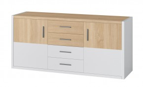 Oslo - Komoda, 4x zásuvky, 2x dveře (dub sonoma/bílá)