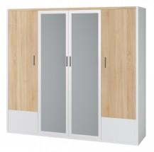 Oslo - Šatní skříň 207 cm, zrcadla (dub sonoma/bílá)
