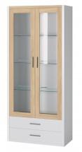Oslo - Vitrína 2x dveře, police (dub sonoma/bílá)