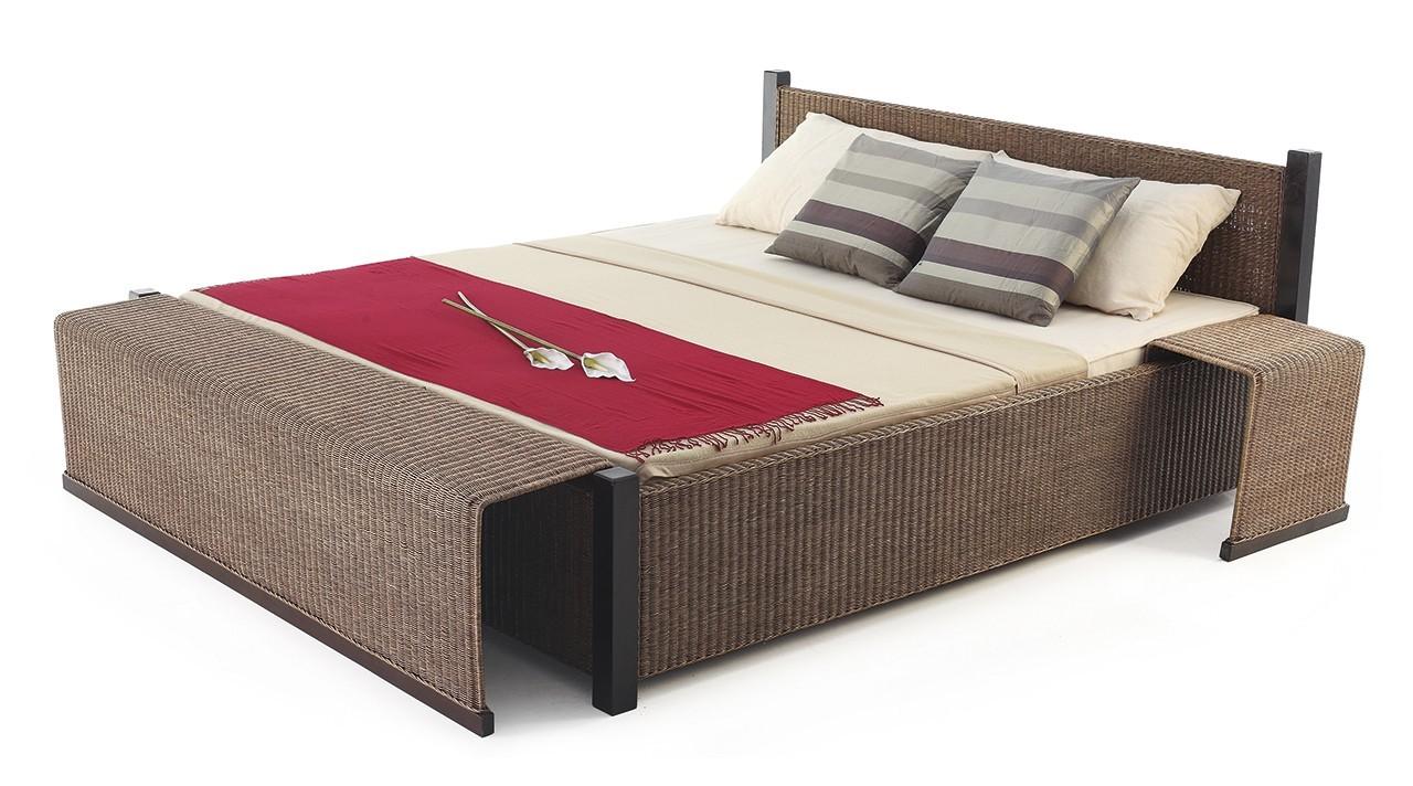 Pablo - Postel, bez roštu, matrace a odkládacích stolků (hnědá)