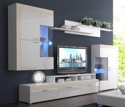 Pablos - Obývací stěna (bílá, korpus/bílá lesk/béžové detaily)