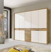 Padua - Skříň, 5x dveře, 4x zásuvka (dub balken/alpská bílá) + TV zdarma