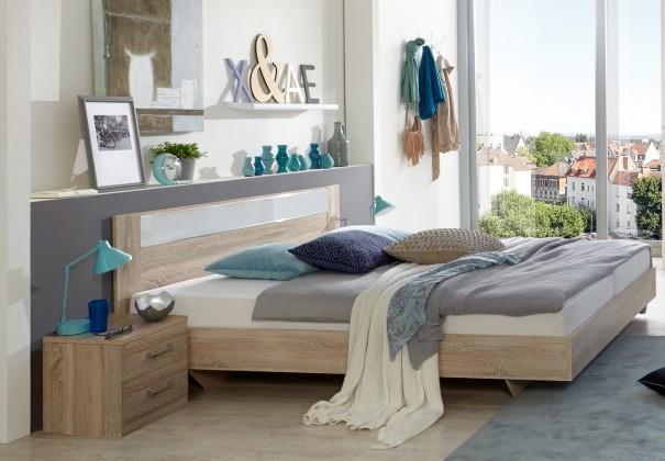 Pamela - Komplet,postel 140x200cm,noční stolky (dub,sklo,chrom)